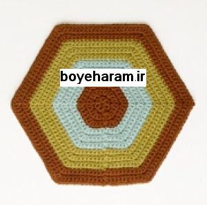 شش ضلعي,شش ضلعي قلاب بافي,آموزش بافت شش ضلعي,آموزش شش ضلعي قلاب بافي