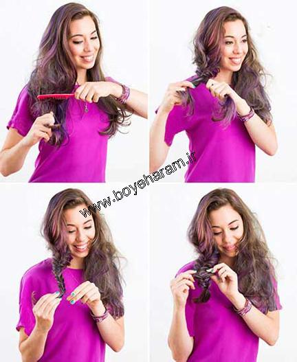 آموزش بافت مو,آموزش آرایش مو,آرایش مو به روش تیغ ماهی,بافت مو به روش تیغ ماهی,تیغ ماهی آشفته,مدل های بافت مو,بافت موی مجلسی,مدل های بافت موی مجلسی و عروسی