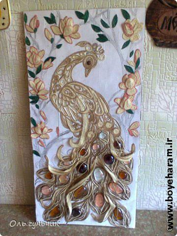 آموزش ساخت تابلو برجسته طاووس با کاموا