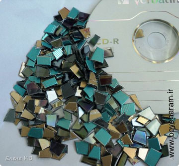 ساخت کاردستی با تیکه های شیشه,تیکه های سی دی