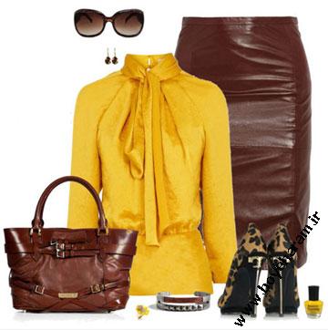 ست لباس زرد و قهوه ای زنانه