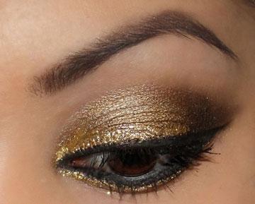 آرایش چشم,چشم طلایی,آرایش طلایی چشم,رنگ طلایی چشم