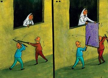 کاریکاتور زن خانه,کاریکاتور فرش,کاریکاتور زن و شوهر