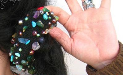 تزئین کش مو با سنگ دوزی,تزئین کش مو با منجوق دوزی