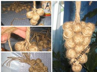 ساخت انگور با گونی پارچه ای