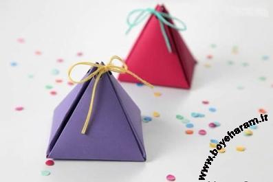 ساخت جعبه هدیه,ساخت قوطی هدیه,قوطی هدیه مثلثی شکل,Fancy gift box making