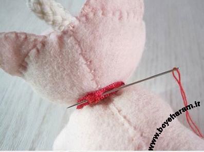 آموزش دوخت روبان روی عروسک