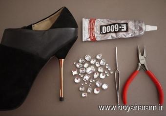 تزئین کفش,کاردستی کریستالی,ساخت کفش