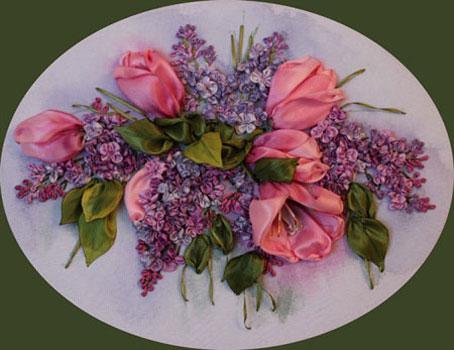 آموزش دوخت گلهای روبانی,دوخت گل با استفاده از روبان