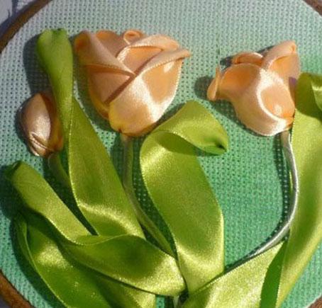 روش دوخت گلهای روبانی,آموزش دوخت گلهای روبانی