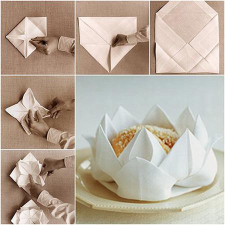آموزش تصویری تزیین دستمال سفره,تزیین دستمال سفره به شکل نیلوفر