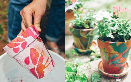 تزئین گلدان با لاک,آموزش رنگ کردن گلدان,رنگ کردن گلدان با لاک,روش رنگ کردن گلدان با لاک