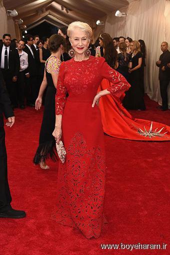 Helen Mirren در مراسم مت گالا Met Gala 2015