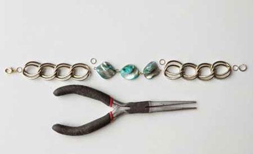 آموزش ساخت دستبند با زنجیر و سنگ های رنگی 5 آموزش ساخت دستبند با زنجیر و سنگ های رنگی