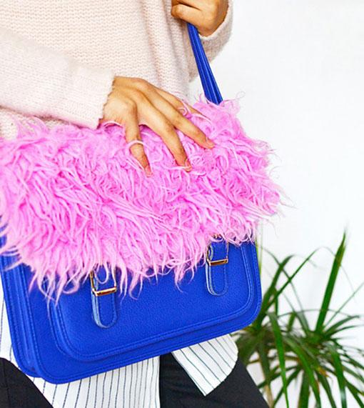 تزئین کیف با استفاده از چسباندن خز رنگی,تزئین کیف با خز های رنگی