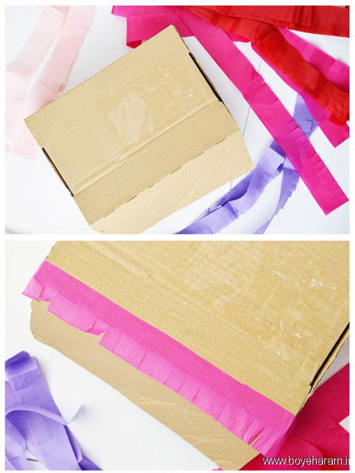 ساخت باکس با جعبه کفش و کاغذ رنگی,آموزش درست کردن باکس هدیه