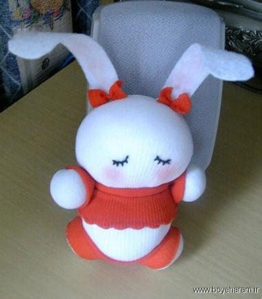 روش ساخت عروسک با جوراب,ساخت خرگوش