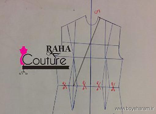آموزش تصویری دوخت لباس مجلسی یقه چپ راستی,روش دوخت انواع لباس مجلسی ریون