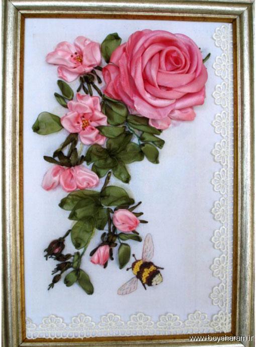 آموزش روبان دوزی,مدل تابلو روبان دوزی,گل روبانی,ساخت تابلو