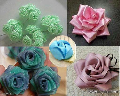 مدل گل رز روبان دوزی,آموزش درست کردن گل رز روبان دوزی شده