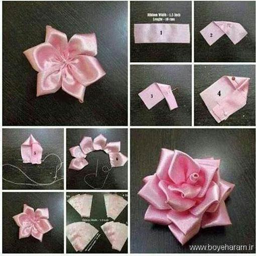 آموزش درست کردن گل رز روبان دوزی,مدل گل رز روبان دوزی