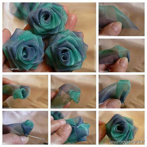 مدل های جدید گلدوزی,آموزش درست کردن گل رز روبان دوزی