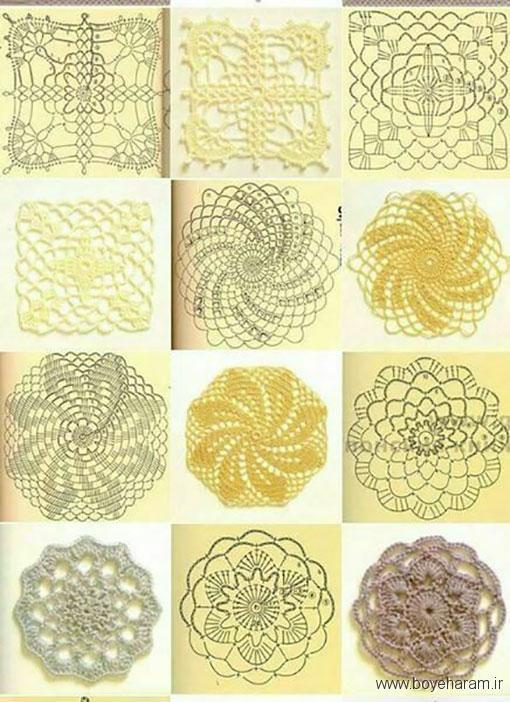 آموزش بافت موتیف شش ضلعی,مدل موتیف دایره ای,جدیدترین موتیف های بافتنی مربعی