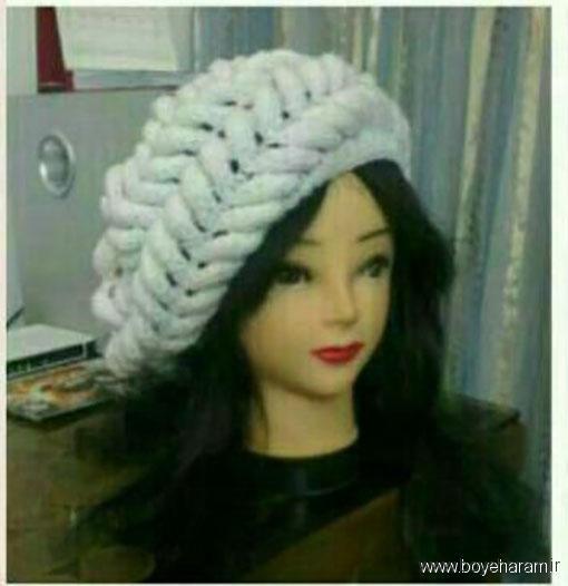 آموزش بافت کلاه کج زمستانی,مدل کلاه کج زمستانی دخترانه,جدیدترین کلاه کج بافتنی دخترانه,