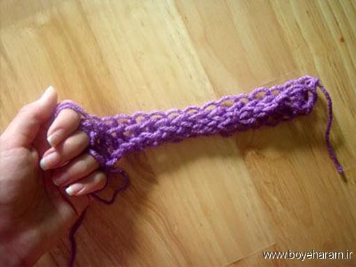 آموزش بافت شالگردن دخترانه با دست,آموزش تصویری بافت شالگردن بدون قلاب و میل بافتنی