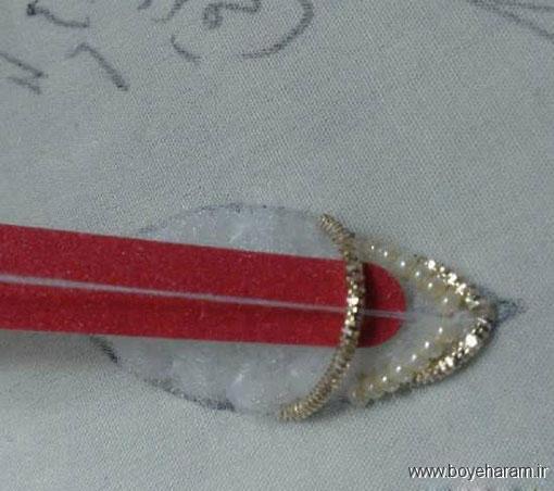 آموزش سرمه دوزی روی رومیزی,تزئین رومیزی ترمه,تزئین رومیزی با سرمه دوزی,
