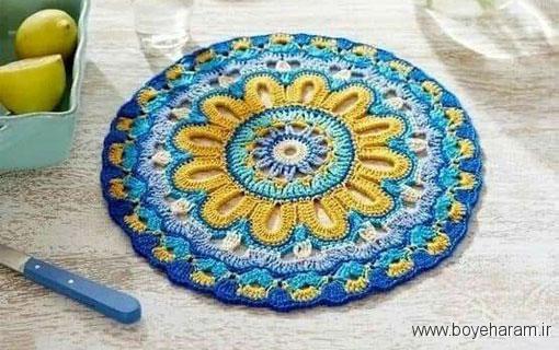 آموزش بافت رومیزی باقلاب,رومیزی,آموزش رومیزی با نخ کاموا,آموزش انواع رومیزی,آموزش مدل های جدید رومیزی