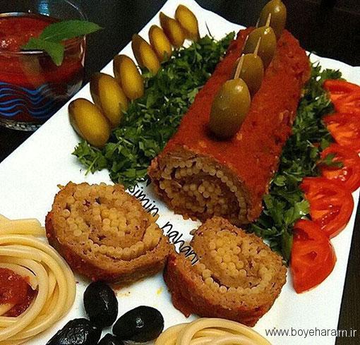 آموزش آشپزی,آموزش پخت رولت گوشت و پاستا,دستور پخت رولت گوشت و پاستا