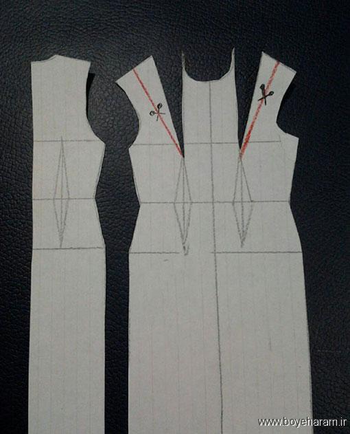 آموزش دوخت لباس زنانه,آموزش دوخت لباس یقه آمریکایی,آموزش دوخت یقه چپ وراست