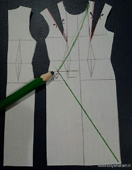 آموزش دوخت یقه چپ و راست آمریکایی,آموزش دوخت لباس مجسی زنانه,آموزش دوخت لباس یقه باز