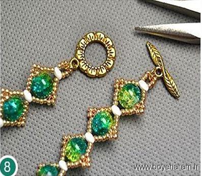 آموزش ساخت دستبند,آموزش تصویری درست کردن دستبند,درست کردن دستبند با منجوق,دستبند فانتزی,آموزش دستبند کریستالی فانتزی