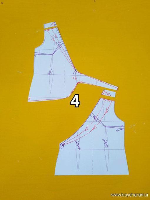 دوخت لباس یقه چپ و راسته,مدل جدید شومیز یقه چپ و راسته,دوخت لباس حریر یقه چپ و راسته