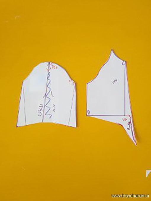 دوخت لباس یقه گره ای,مدل ژورنالی شومیز یقه گره ای,دوخت لباس حریر مدل ژورنالی