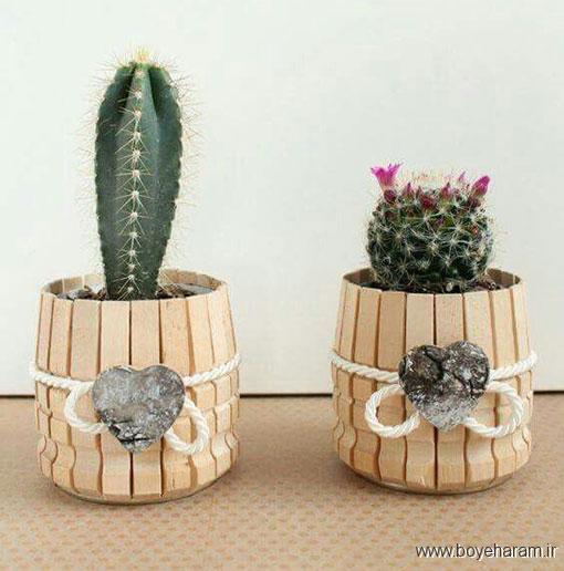 آموزش ساخت کاردستی تزئینی,ساخت کاردستی با گیره,آموزش درست کردن گلدان با گیره لباس