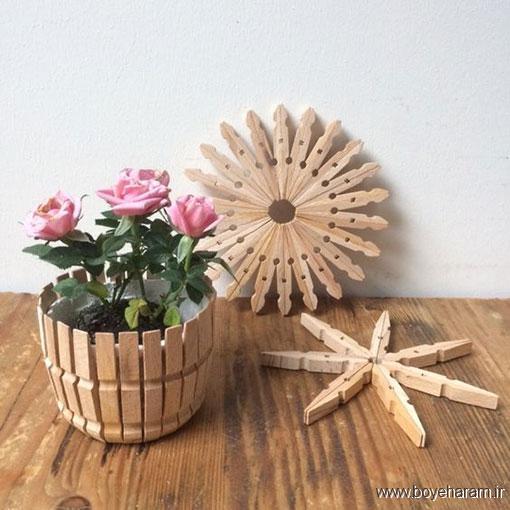 ساخت زیرلیوانی با گیره,روش ساخت کاردستی با گیره,ساخت گلدان با گیره لباس