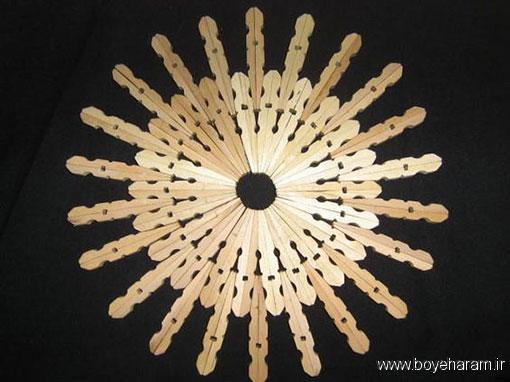 ساخت گلدان با گیره لباس,آموزش درست کردن زیر قابلمه ای با گیره لباس,آموزش ساخت کاردستی با گیره لباس,