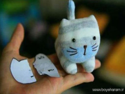 ساخت عروسک گربه با جوراب,آموزش درست کردن عروسک گربه با جوراب,آموزش ساخت عروسک گربه با جوراب,