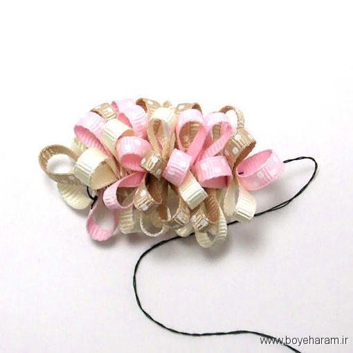 ساخت گل با روبان,ساخت کش مو,ساخت گل سر,آموزش تل و گل سر های زیبا