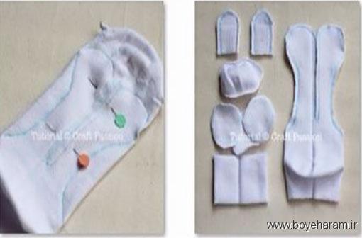 آموزش دوخت عروسک با جوراب,درست کردن عروسک خرگوش با جوراب,آموزش درست کردن عروسک خرگوش با جوراب
