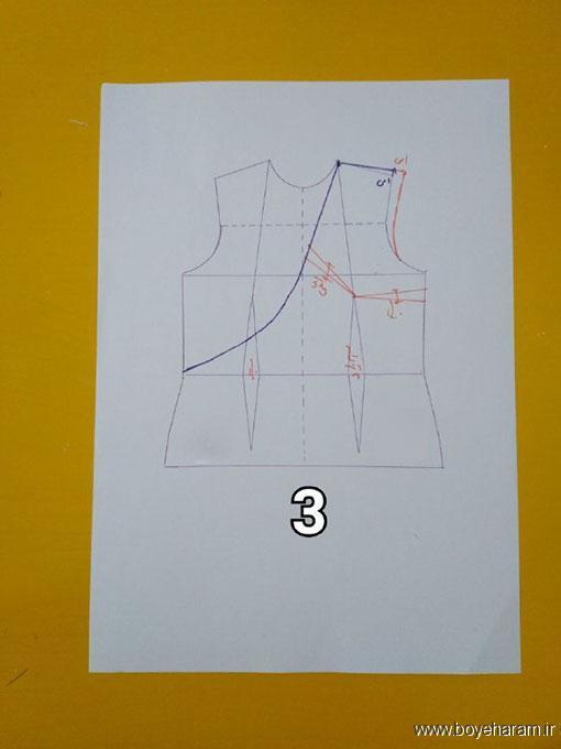 لباس یقه چپ و راست زنانه,آموزش دوخت لباس یقه چپ و راست زنانه,بلوز مجلسی دخترانه