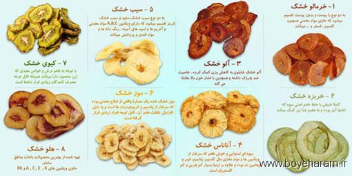 خشک کردن میوه,روش های خشک کردن میوه,روش های مختلف خشک کردن میوه