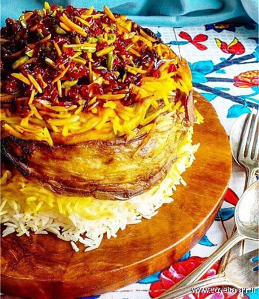 آموزش غذاهای محلی,بادمجان پلو قزوینی,آموزش دستورپخت بادمجان پلو,غذای محلی