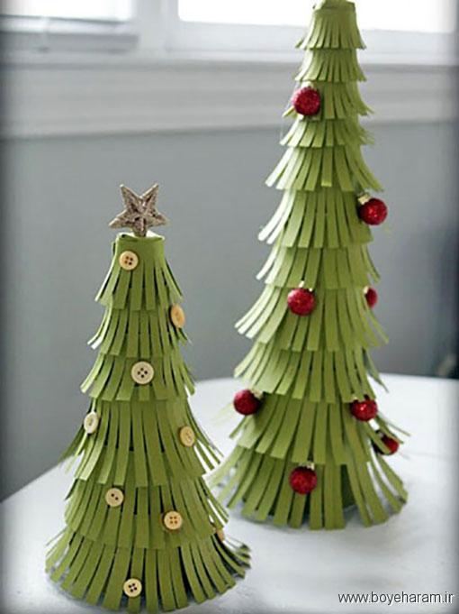 آموزش درست کردن کاج کریسمس با مقوا,آموزش ساخت کاج کریسمس با مقوا وسایل بازیافتی