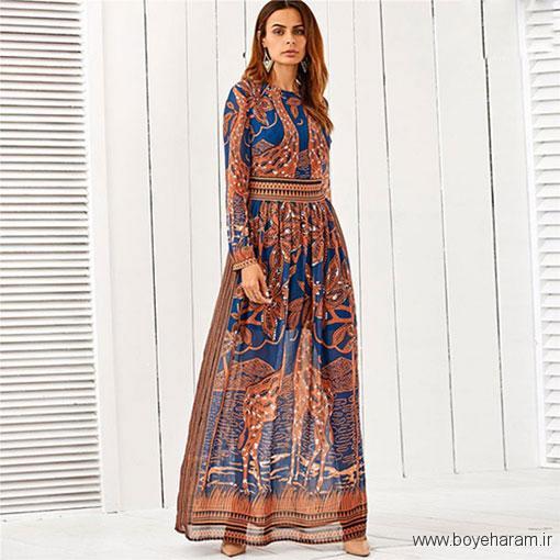 پیراهن طرحدار,مدل لباس پفی,مدل لباس سبک بوهیما,لباس طرح پلنگی