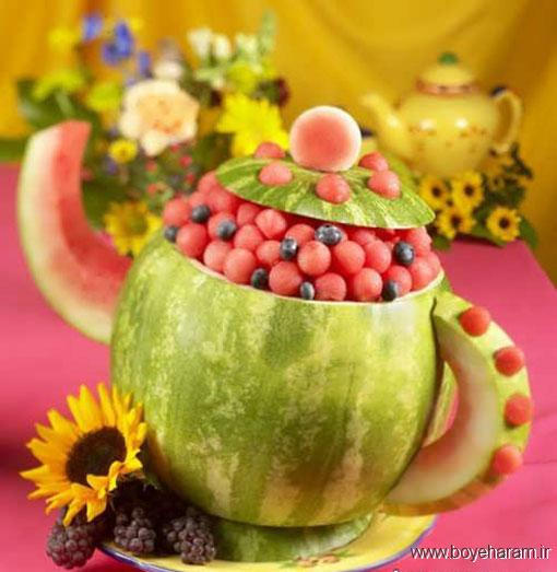 تزیین هندوانه برای شب یلدا,تزیین هندوانه مخصوص شب یلدا,تزیین جالب و فانتزی هندوانه شب یلدا