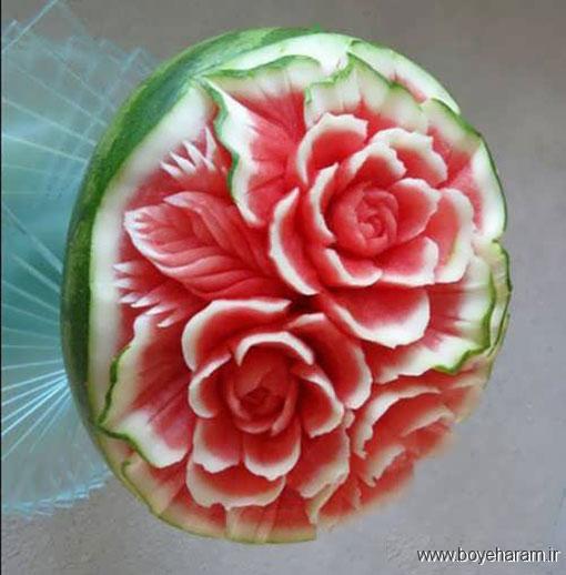 تزیین هندوانه به شکل سبد میوه, تزیین ساده و خلاقانه هندوانه,تزیین هندوانه برای شب یلدا,تزیین زیبا و فانتزی هندوانه,